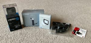 Packaged GoPro Camera and accessories