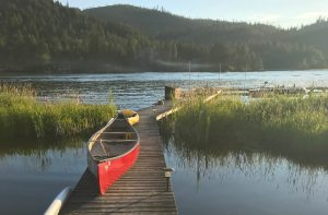 Canoe on dock
